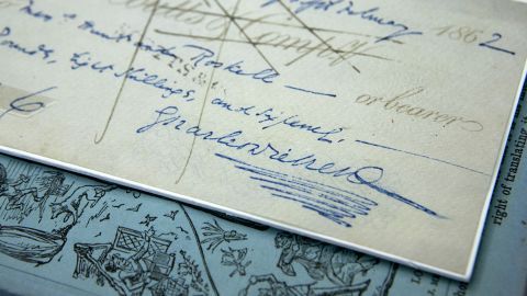 Bank cheque signed by Charles Dickens