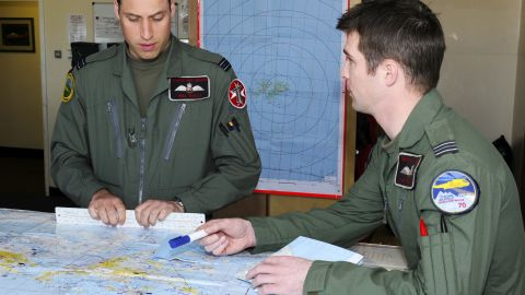 Prince William (L) on deployment on February 4, 2012 in the Mount Pleasant Complex, Falkland Islands.