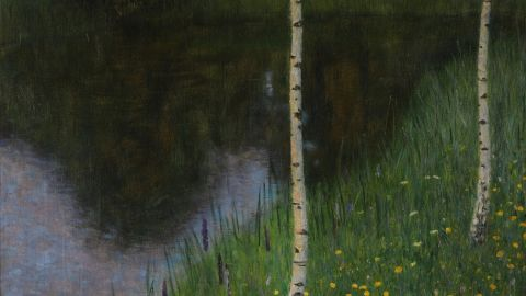 """Lakeshore with birches,"" Gustav Klimt, 1901."