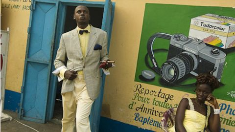 """<a href=""""http://www.photodantam.com/"""" target=""""_blank"""" target=""""_blank"""">Tamagni</a> traveled to Brazzaville in 2008 to photograph the Sapeurs. Kinshasa, in DR Congo, has its own Sapeur scene."""