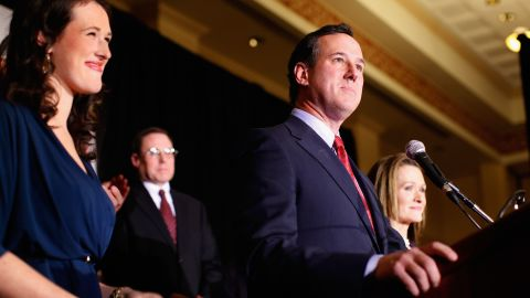 Republican presidential candidate Rick Santorum addressed supporters after being projected the winner in Tuesday's Minnesota and Missouri contests.