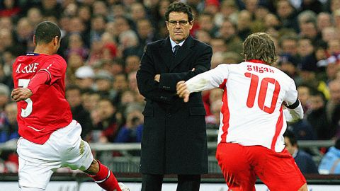 The Italian's first game in charge was a friendly international against Switzerland at Wembley in February 2008, with England winning 2-1.
