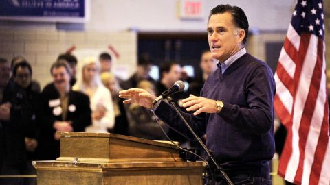 Mitt Romney addresses voters last week at a caucus site in York County, Maine.