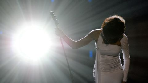 Houston performs at the American Music Awards in 2009, where she won the International Favorite Artist award.