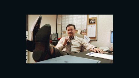 """Ricky Gervais plays inept boss David Brent in the British version of TV show """"The Office."""""""