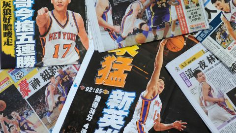 NBA player Jeremy Lin shot to fame in February 2012 when he led the New York Knicks on a winning streak. Fans loved the story of an overlooked player who slept on couches and came off the bench to become a worldwide phenomenon. The former New York Knicks player appeared on front pages in Taiwan.