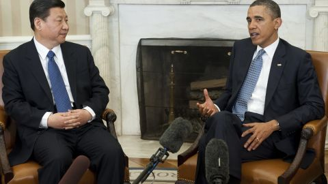 President Obama spoke with Chinese Vice President Xi Jinping in the Oval Office Tuesday.