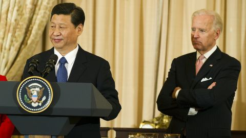 Chinese Vice President Xi Jinping speaks with US Vice President Joe Biden at the State Department in Washington, DC.