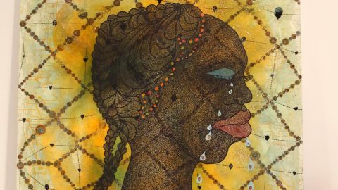 """Artist Chris Ofili was born in Manchetser, England to Nigerian parents. His work has drawn inspiration from a research trip to Zimbabwe. He is a former winner of Britain's prestigious Turner Prize for art, and his works include """"No Woman, No Cry,"""" pictured."""