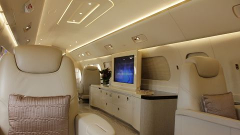 Embraer's $53M Lineage 1000 on display at the Singapore Airshow. A retractable TV is possible, but it will cost as much as Ferrari to fit.