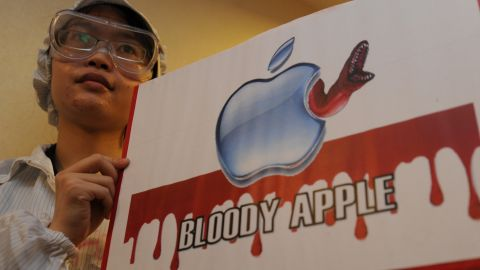 Worker-rights protesters demonstrated outside Apple manufacturer Foxconn's general meeting in Hong Kong last May.