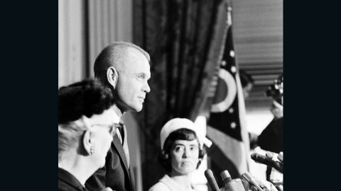 """Glenn announces his candidacy for US Senate in 1964. """"In his only previous contacts with high-level politicians of both parties,"""" Life magazine wrote, """"Glenn has been the object of admiration and affection; for the people in general he has been virtually above reproach. Now, suddenly, his hero's immunity is gone. He must stand still for hard looks and hard questions by men who have long studied all the answers."""""""