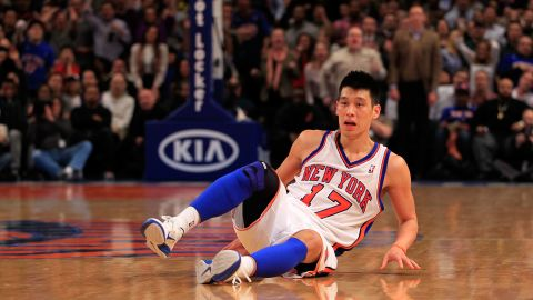 NEW YORK, NY - FEBRUARY 17: Jeremy Lin #17 of the New York Knicks falls to the court against the New Orleans Hornets at Madison Square Garden on February 17, 2012 in New York City. NOTE TO USER: User expressly acknowledges and agrees that, by downloading and/or using this Photograph, user is consenting to the terms and conditions of the Getty Images License Agreement. (Photo by Chris Trotman/Getty Images)