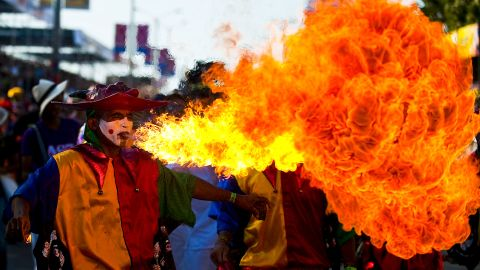 Dancers perform during a carnival parade in Barranquilla, Colombia, on Saturday.