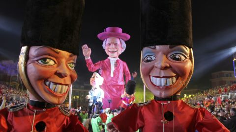 The parade moves through the streets at the Nice Carnival on Saturday.
