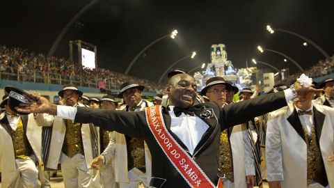 Revelers from the Vai Vai samba school dance during carnival celebrations in Sao Paulo early Saturday.