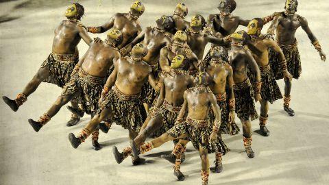 Members of the Vila Isabel samba school perform in the Sambadrome in Rio de Janeiro on Monday.