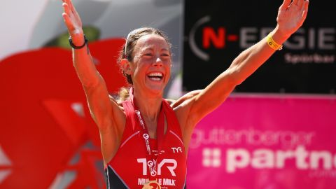 Wellington celebrates winning last year's Challenge Roth triathlon with a new long-distance world record.