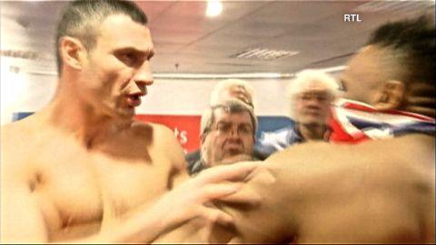 British challenger Dereck Chisora slaps Heavyweight Champ Vitali Klitschko.