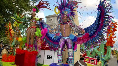 """iReporter Dilip Sahijwani shot this photo of the 58th annual carnival in Ornjestad, Aruba. He said it was the best one he has seen in the last 24 years, and everything went very smoothly. """"Groups make up parties and they dance on the street and you have to pay to join the groups,"""" he said. """"A lot of people from the U.S. participate, too."""""""