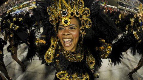 A Unidos da Tijuca samba school reveler performs at the Sambadrome in Rio de Janeiro on Tuesday.