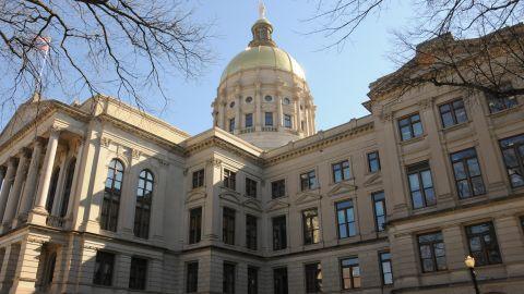 A still photo of the Georgia state capitol in Atlanta.