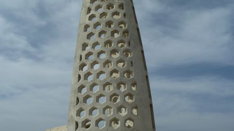 This monument points west, representing the millions of slaves headed toward the Americas.
