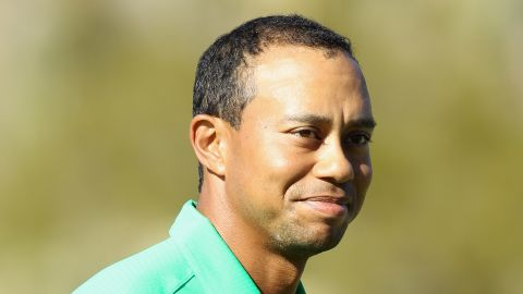 Tiger Woods is all smiles after closing out Gonzalo Fernandez-Castano in Arizona.