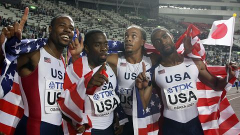 Gay also won gold as part of the U.S. 4x100m relay team.