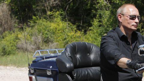Putin rides a Harley-Davidson to an international biker convention in southern Ukraine on July 14, 2010.