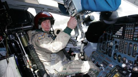 Putin in the cockpit of a Tupolev Tu-160 strategic bomber jet at a military airport on August 16, 2005, before his supersonic flight.