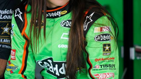 DAYTONA BEACH, FL - FEBRUARY 22: Danica Patrick, driver of the #10 GoDaddy.com Chevrolet, sits in the garage during practice for the NASCAR Sprint Cup Series Daytona 500 at Daytona International Speedway on February 22, 2012 in Daytona Beach, Florida. (Photo by Todd Warshaw/Getty Images for NASCAR)