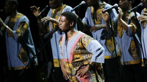 "Ladysmith Black Mambazo perform Paul Simon's ""Under African Skies"" in 2008 in New York City."
