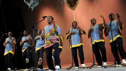 Ladysmith Black Mambazo are a South African singing group, world-renowned for their vocal harmonies and Zulu dance moves.