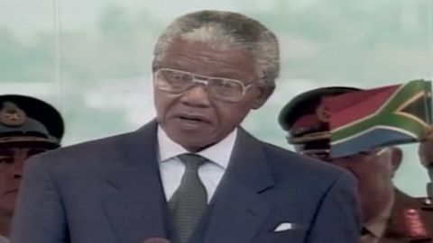 Nelson Mandela gave his first statement after being elected the first black president of South Africa in 1994.