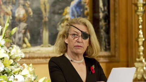 Marie Colvin of The Sunday Times, gives the address during a service at St. Bride's Church November 10, 2010 in London, England. The service commemorated journalists, cameramen and support staff who have fallen in the war zones and conflicts of the past decade. (Photo by Arthur Edwards - WPA Pool/Getty Image
