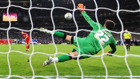 Liverpool made the worst possible start to the shootout when captain Steven Gerrard saw his kick wonderfully saved by Cardiff goalkeeper Tom Heaton.