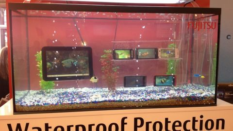 To prove their seaworthiness -- or just attract attention -- Fujitsu phones and tablets sit submerged in a fish tank at this tech trade show.