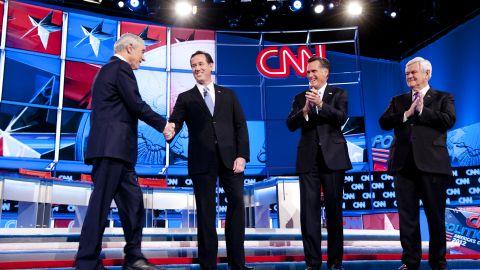 Left to right, Ron Paul, Rick Santorum, Mitt Romney and Newt Gingrich debate in Arizona on February 22.