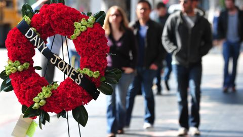 A wreath honoring Jones sits by the Monkees' star on Hollywood's Walk of Fame on Wednesday, February 29.
