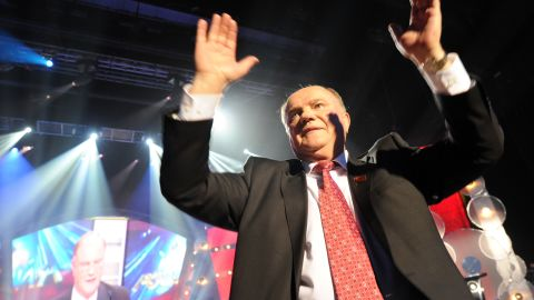 Russia's Communist Party leader Gennady Zyuganov campaigns in Moscow, on February 29, 2012.