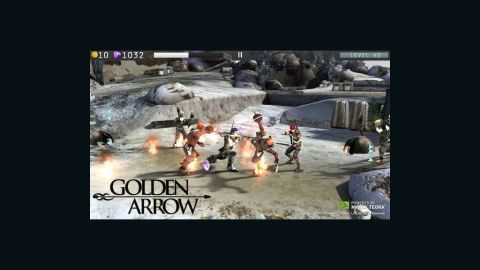 """""""Golden Arrow THD"""" is an example of a mobile game with high-quality special effects."""
