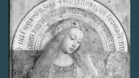 Here the Virgin Enthroned is seen in digital infrared reflectograms, which look past the painted surface of the picture and reveal the under-drawings beneath.