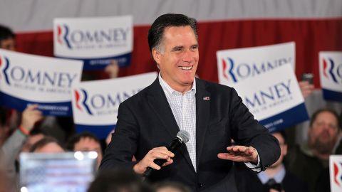 Mitt Romney campaigns Thursday in Fargo, North Dakota, ahead of the Super Tuesday primaries.