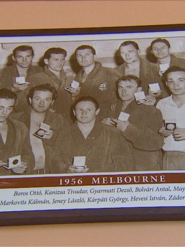 The victorious Hungarian team including captain Dezso Gyarmati (back row, center) and Ervin Zador, who didn't play in the final, second from the right in the front row.