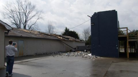 Buckhorn High School in Huntsville, Alabama, sustained damage from a tornado on Friday.