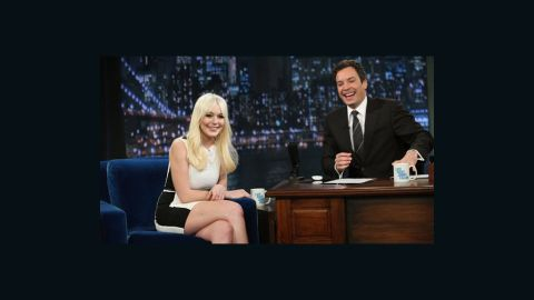 """Lindsay Lohan swung by Friday's episode of """"Late Night with Jimmy Fallon."""""""