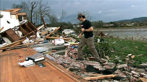 CNN ground crew shows the tremendous destruction from a tornado in TN.