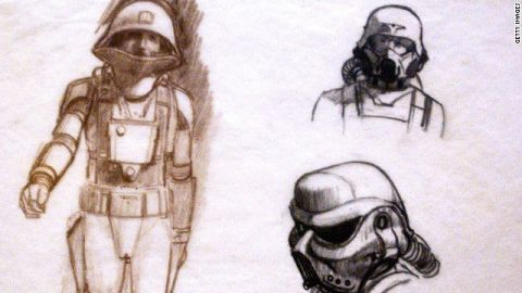 """Early images of """"Star Wars"""" stormtroopers and Imperial forces, as rendered by Ralph McQuarrie."""