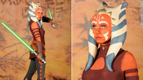 Ashley Eckstein takes on her character Ahsoka's unique Jedi look.